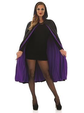 Adult Black & Purple Short Velour Cape