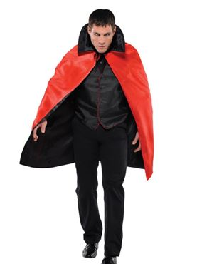 Adult Black & Red Reversible Cape