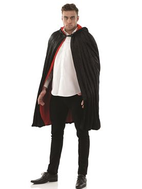 Adult Black & Red Short Velour Cape