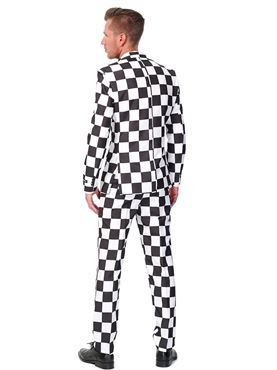 Adult Black and White Checked Suitmeister Suit - Back View