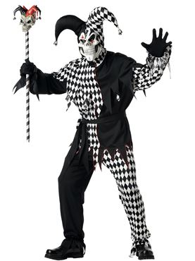 Adult Black and White Evil Jester Costume