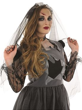 Adult Black Corpse Bride Costume - Back View