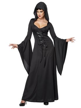 Adult Black Deluxe Hooded Robe Costume