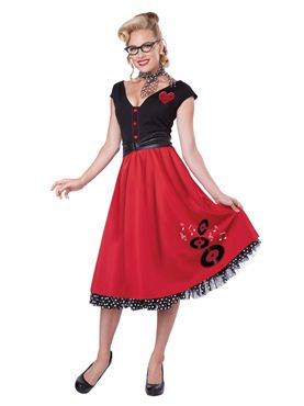 Adult Rock n Roll Sweetheart Costume
