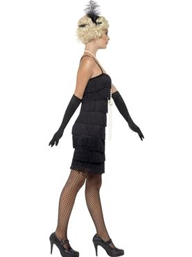 Adult Black Flapper Costume - Back View