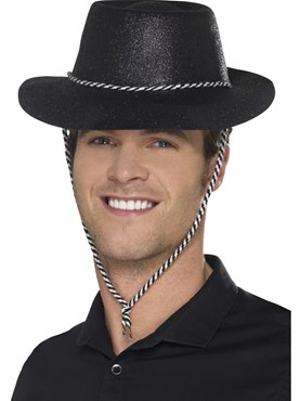 Adult Black Glitter Cowboy Hat
