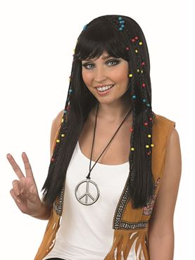 Adult Black Hippie Wig