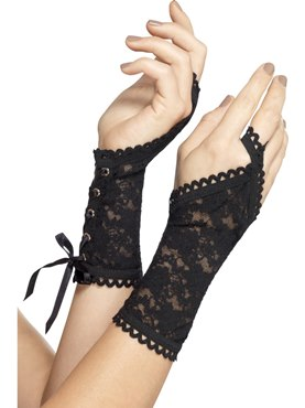Adult Black Lace Glovelettes