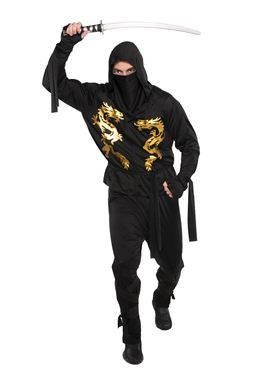 Adult Black Ninja Costume Thumbnail