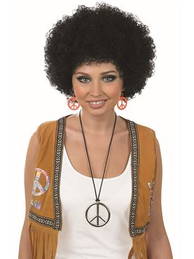 Adult Unisex Black Pop Afro Wig