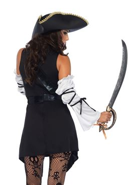 Adult Black Sea Buccaneer Costume - Back View