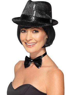 Adult Black Sequin Trilby Hat