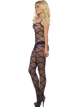 Adult Black Sheer Body Stocking - Back View