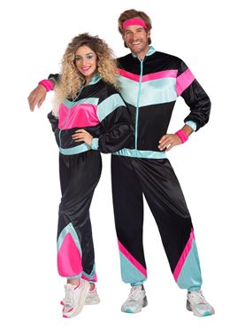 Adult Black Shell Suit Costume Couples Costume
