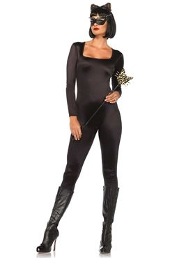 Adult Black Spandex Catsuit Costume - Back View