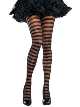 Adult Black Striped Tights
