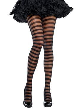 Adult Black Striped Tights