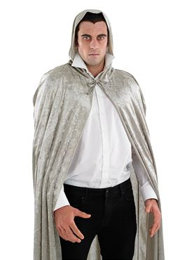 Adult Grey Velour Hooded Cape - Side View