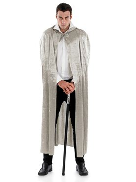 Adult Grey Velour Hooded Cape
