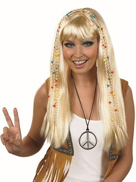 Adult Blonde Hippie Wig