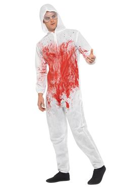 Adult Bloody Forensic Overall Costume - Back View