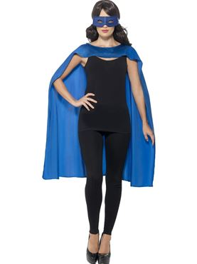 Adult Blue Cape & Eye Mask Set - Back View