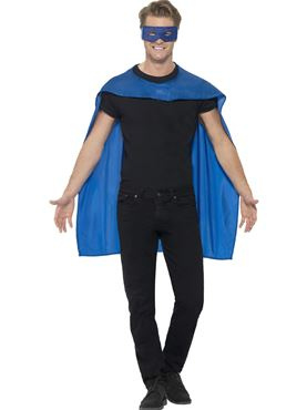 Adult Blue Cape & Eye Mask Set
