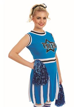 Adult Blue Cheerleader Costume - Back View