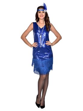 Adult Blue Sparkle Flapper Costume