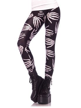 Adult Boney Hands Skeleton Print Leggings
