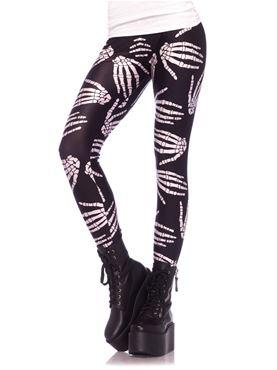 Adult Boney Hands Skeleton Print Leggings