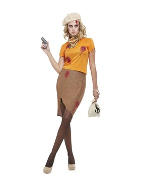 Adult Bonnie Zombie Gangster Costume Couples Costume