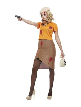 Adult Bonnie Zombie Gangster Costume - Back View