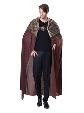 Adult Brown Deluxe Plush Collared Cape