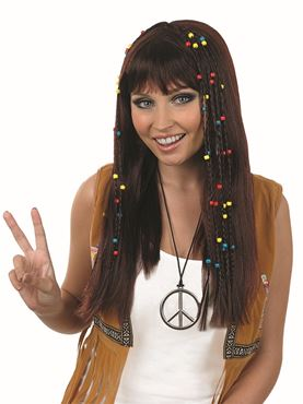 Adult Brown Braided Hippie Wig