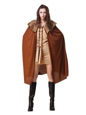 Adult Brown Plush Collared Short Cape