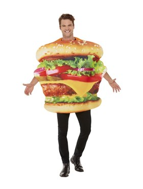 Adult Burger Costume - Back View
