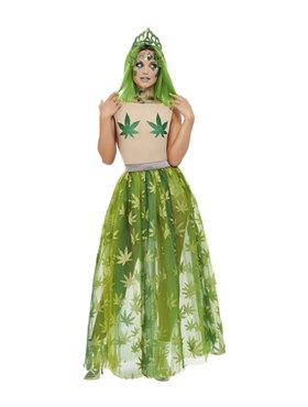 Adult Cannabis Queen Costume - Back View