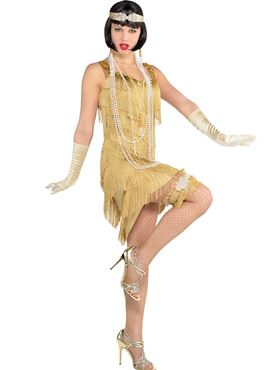 Adult Champagne Flapper Costume - Back View
