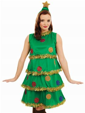 Adult Christmas Tree Lady Costume - Back View