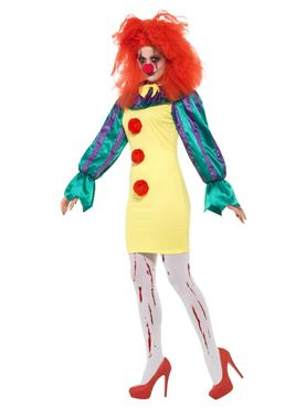 Adult Classic Horror Clown Lady Costume - Back View