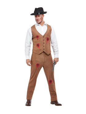 Adult Clyde Zombie Gangster Costume - Back View