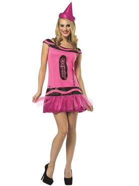 Adult Crayola Crayon Glitzy Blush Dress Costume