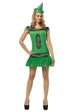 Adult Crayola Crayon Glitzy Emerald Dress Costume
