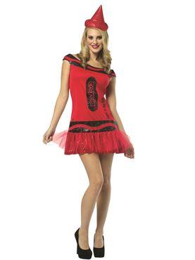 Adult Crayola Crayon Glitzy Ruby Dress Costume