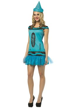 Adult Crayola Crayon Glitzy Steel Blue Dress Costume