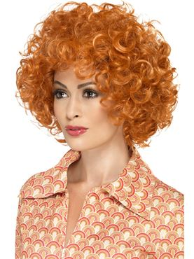 Adult Curly Afro Ginger Wig - Back View