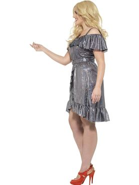 Adult Plus Size Curves 70s Disco Diva Costume - Back View