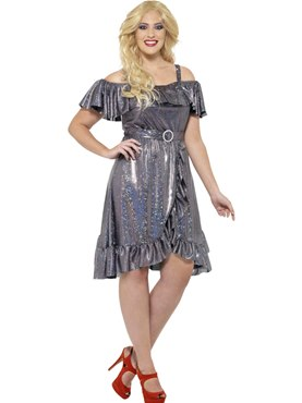 Adult Plus Size Curves 70s Disco Diva Costume