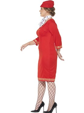 Adult Curves Air Hostess Costume - Back View